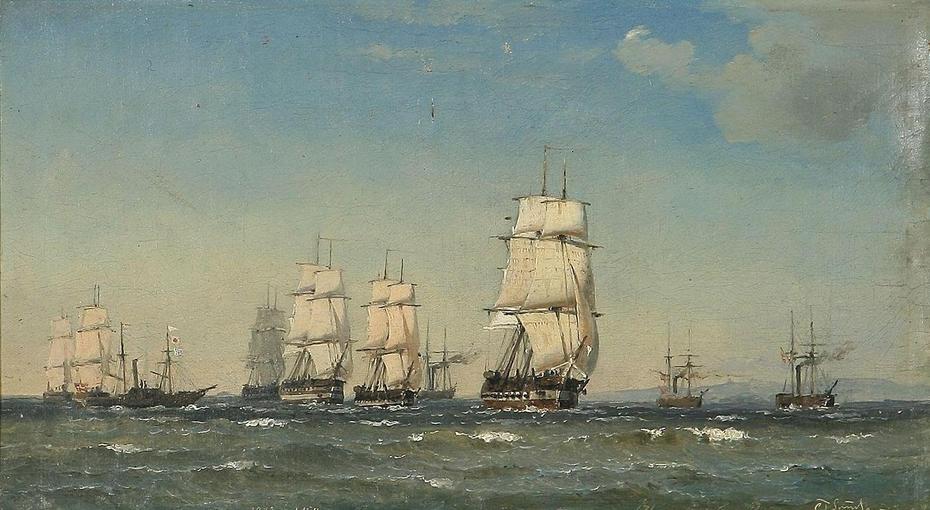 Danish man-o-war in formation