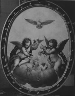 Die Taube des Heiligen Geistes mit blumenstreuenden Engeln (und Werkstatt)