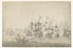 Een zeeslag, mogelijk bij Lowestoft op 13 juni 1665 (linkerblad)
