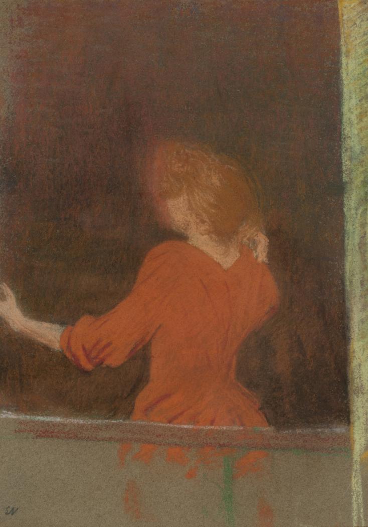 Femme en rouge, dos à la fenêtre (Mujer de rojo, de espaldas a la ventana)