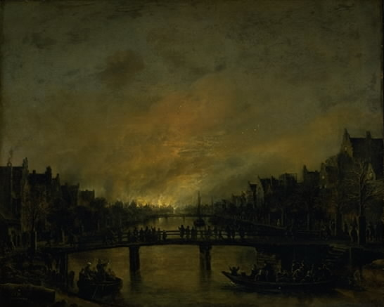 Fire at Amsterdam by Night