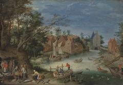 Fischverkauf am Ufer eines Kanals (Umkreis)