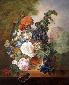 Flowers in a Goldfish Bowl in a Landscape with a Tower