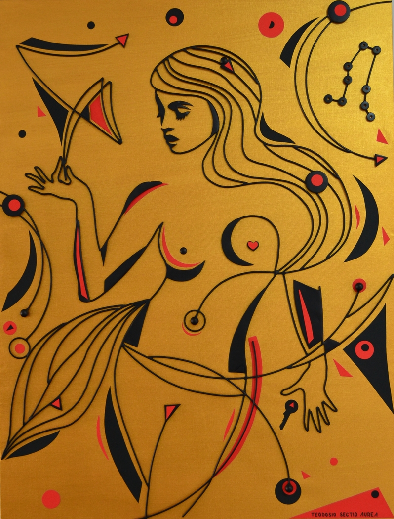 Gemini..wire + canvas + metal sheet + acryl + colored paper