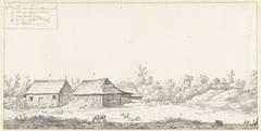 Gezicht op drie huizen op de plantage Surimonbo te Suriname