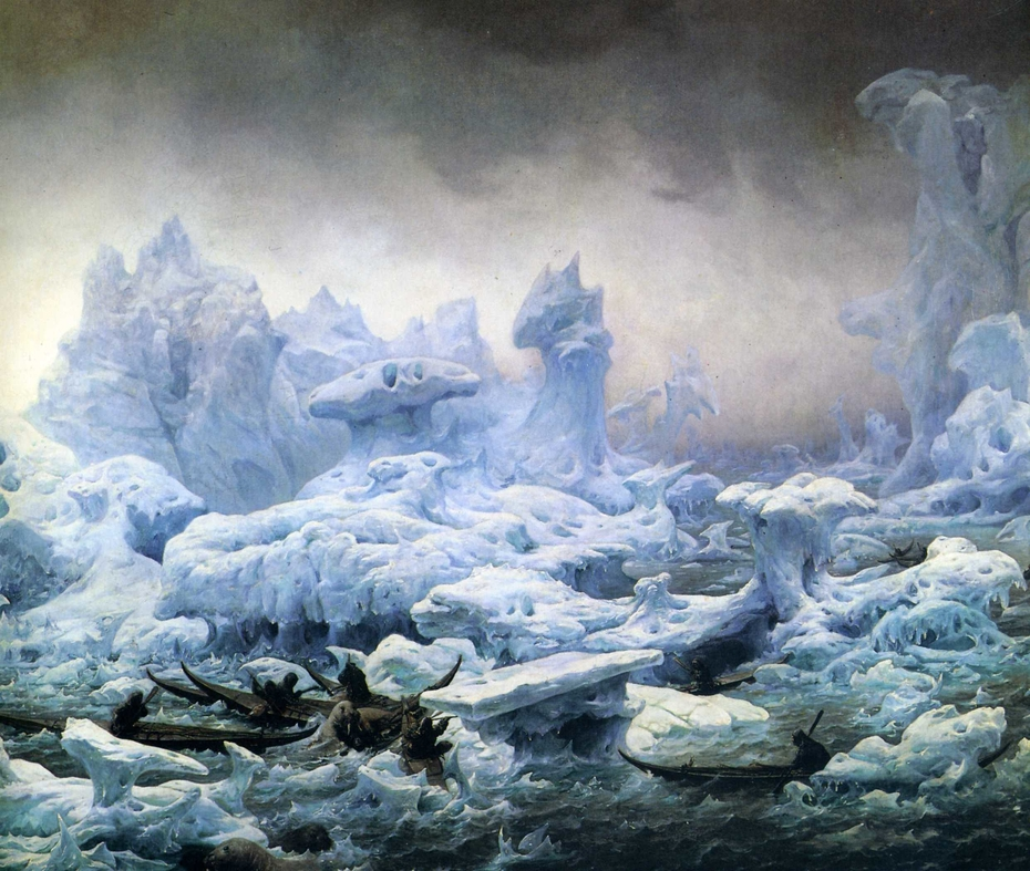 Greenlanders Hunting Walruses in the Arctic Sea