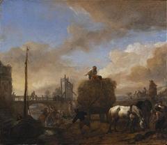 Hay Wagon near a River