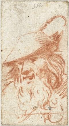 Hoofd van een man met een gevederde hoed