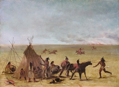 Indian Family Alarmed at the Approach of a Prairie Fire