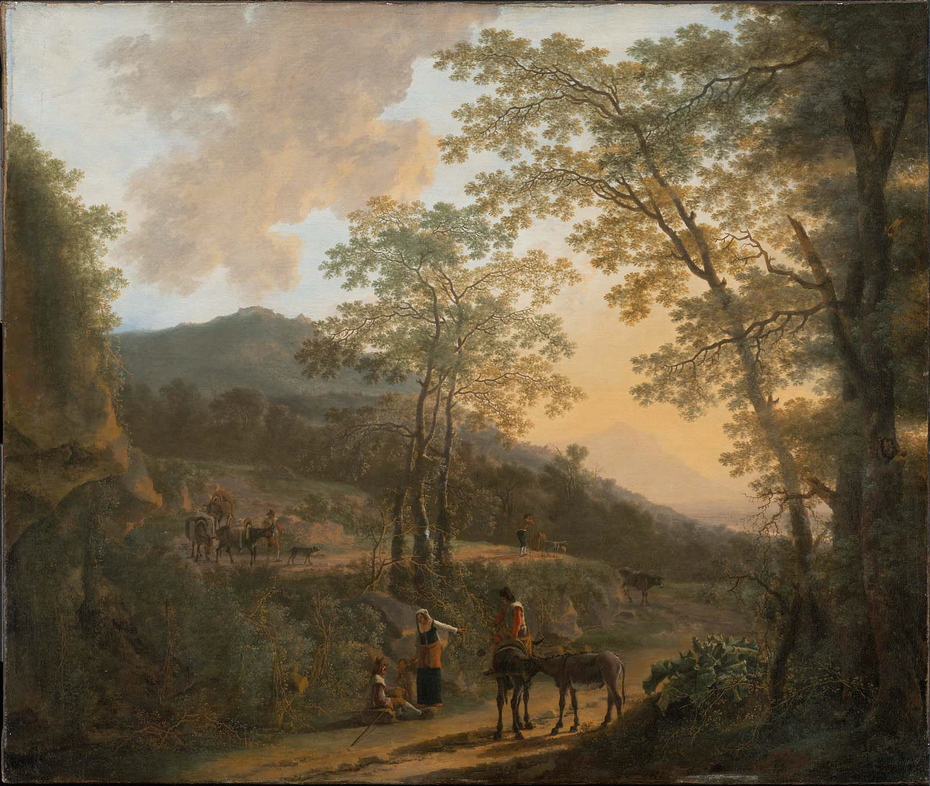 Italian Landscape with Peasants and Donkeys