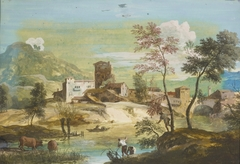Landscape with a Foreground River and Buildings Beyond