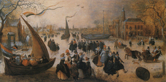 Landscape with a Frozen Canal, Skaters and an Ice Yacht