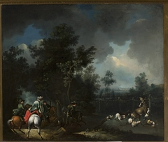 Landscape with a scene of deer hunting
