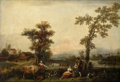 Landscape with a Woman Leading a Cow