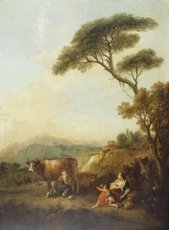 Landscape with a Woman Milking a Cow and a Child Begging for Milk