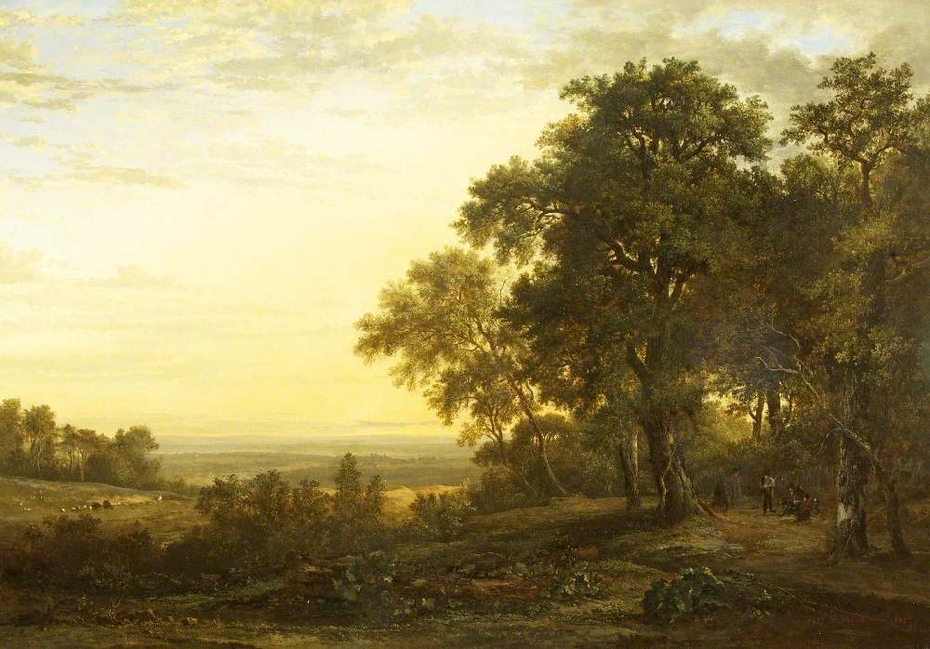 Landscape with Figures on a Road under Trees and a Distant View