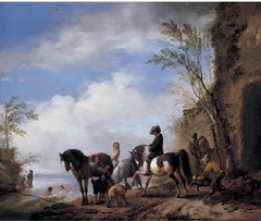 Landscape with three horses, horsemen and bathers near a river