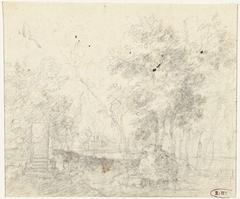 Landschap met links een monument