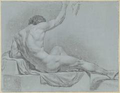 Liggend mannelijk naakt, half opzittend geleund op de linkerarm