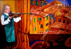 A Little Violinist and Italian Roofs.