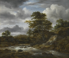Low Waterfall in a Hilly Landscape with a Thatched Cottage