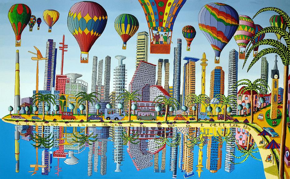 naive painter urban landscape paintings cityscape painting raphael perez israeli artist