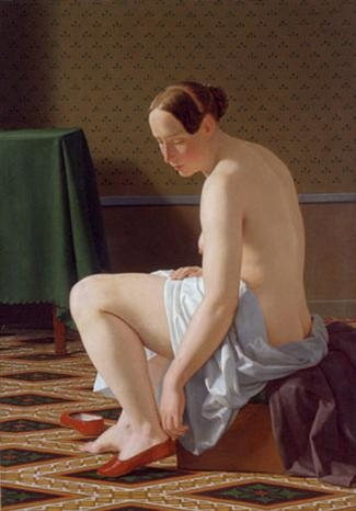 Naked woman putting on her slippers
