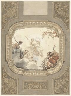 Ontwerp voor een architecturaal kader rond een plafondschildering van Jacob de Wit