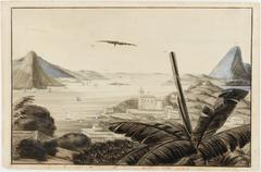 Panorama de la Baie de Rio-Janeiro Sta. Cruz, Garde Côte, Fort Square Island, Eglise de Notre Dame da Gloria, Pão de Assucar (Mnt. Pain de Sucre), San João Fort St. Jean