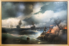 Peter I at Krasnaya Gorka Lighting a Fire on the Shore to Signal to his Sinking Ships