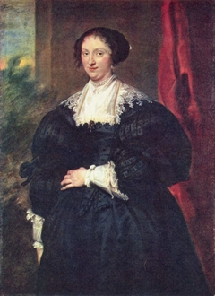 Portrait of a Lady in Black before a Red Curtain