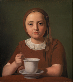 Portrait of a Little Girl, Elise Købke, with a Cup in front of her