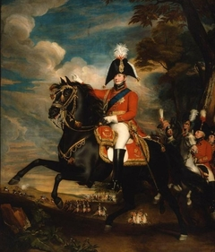 Portrait of H. R. H. the Prince of Wales at a Review, Attended by Lord Heathfield, General Turner, Col. Bloomfield, and Baron Eben; Col. Quinton in the Distance