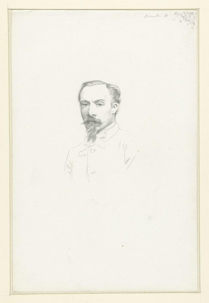 Portret van een heer met baard en snor, aanziend borstbeeld