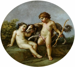 Putti with a Dog