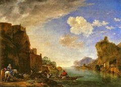 River Landscape with the Fort Saint-Jean and the Chateau Pierre-Scize in Lyon