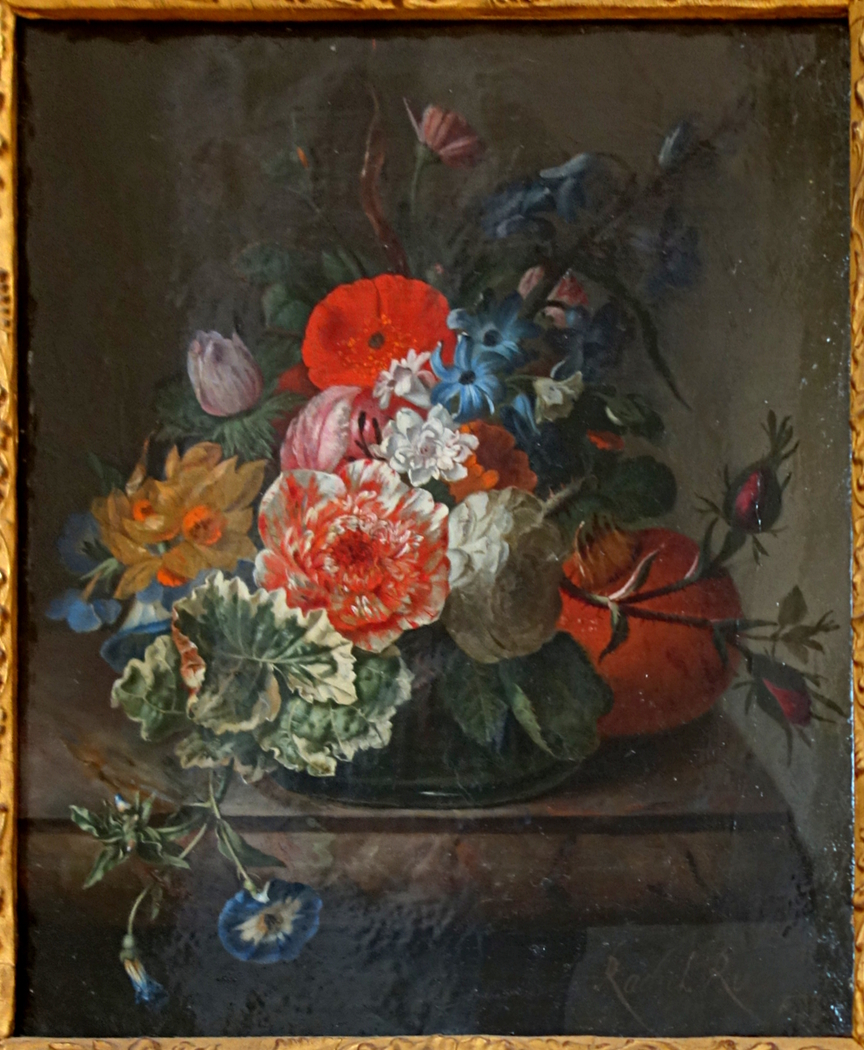 Roses and Tulips on a Marble Slab