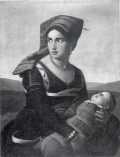Roversvrouw met kind op de vlucht