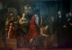 San Agustín recibiendo donaciones de los ricos para entregarlas a los pobres