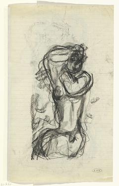 Schetsblad met naaktstudie van een vrouw