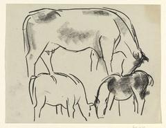Schetsen van koeien en een paard