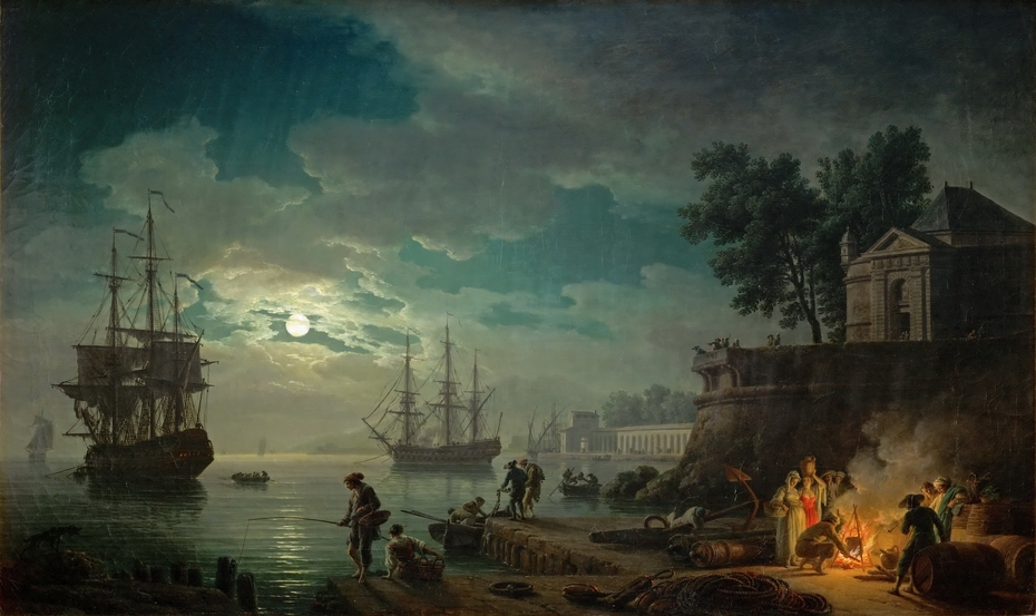 Seaport by Moonlight