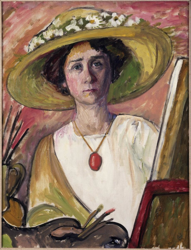 Self-Portrait in front of an easel