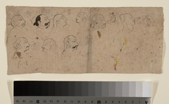 Sketch Page of Facial Studies, likely Maharao Kishor Singh