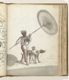 Slave with an Indonesian Parasol (pajoeng), Child and Dog