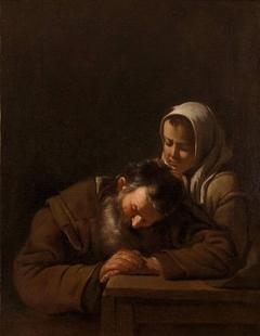 Sleeping old man and girl