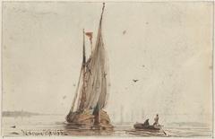 Sloep bij een zeilschip op het water