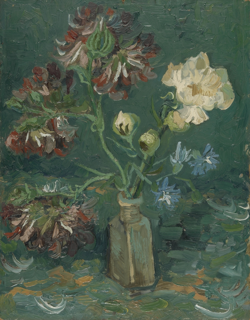 Small Bottle with Peonies and Blue Delphiniums