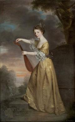 Sophia Anne Delaval, later Mrs John Jadis (1755 - 1793), as a girl, tuning a Mandolin in a Landscape Setting