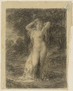 Staande naakte vrouw in een boslandschap met water
